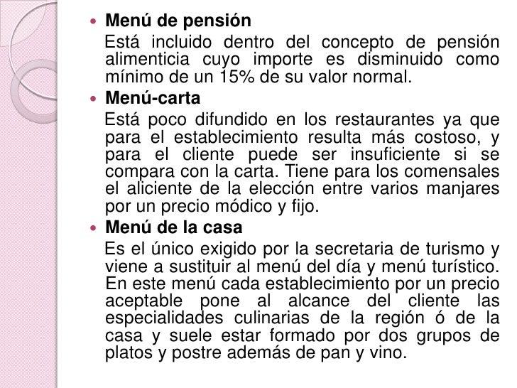 Menú de pensión<br />   Está incluido dentro del concepto de pensión alimenticia cuyo importe es disminuido como mínimo de...