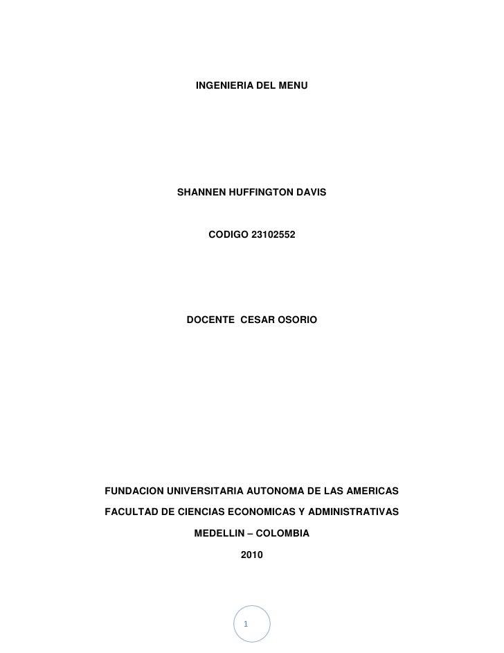 Ingenieria del menu