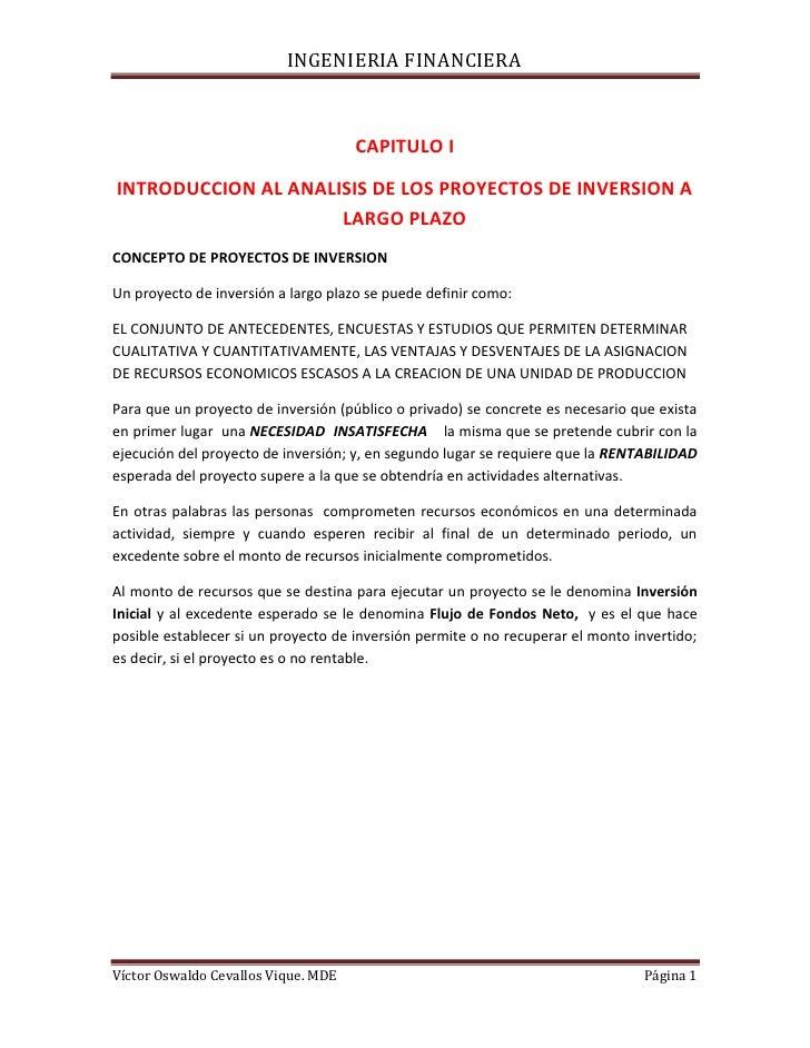 CAPITULO I<br />INTRODUCCION AL ANALISIS DE LOS PROYECTOS DE INVERSION A LARGO PLAZO<br />CONCEPTO DE PROYECTOS DE INVERSI...