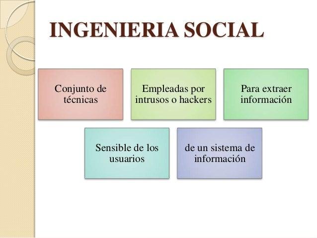 INGENIERIA SOCIALTECNICAS Intrusos que    • Personal de un proveedor de servicios dese hacen pasar     informática        ...