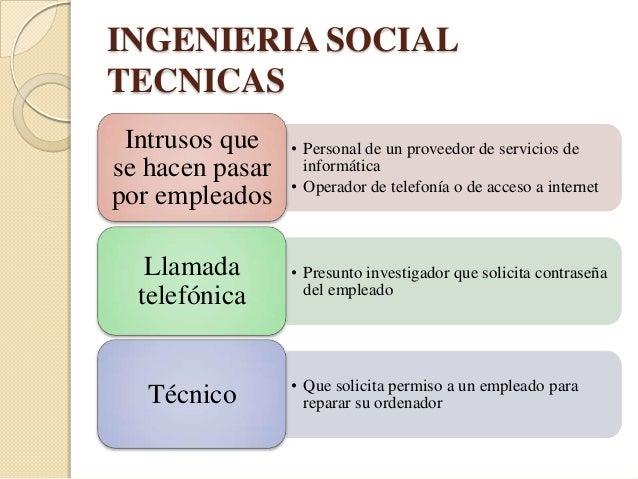 INGENIERIA SOCIALTECNICAS  Correos      • Suplantan la identidad de otra persona                 o organizaciónelectrónico...