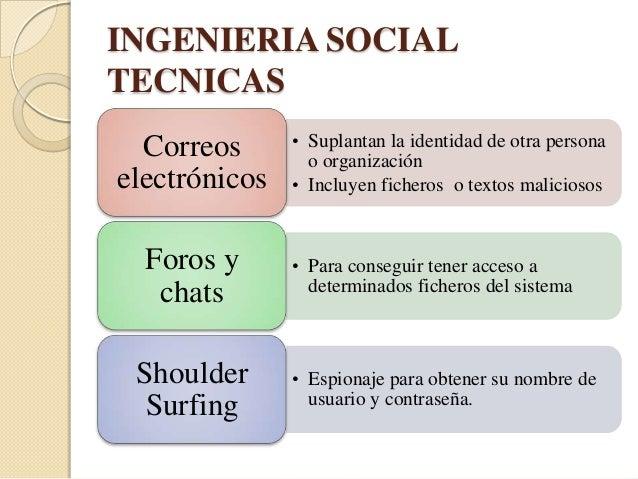INGENIERIA SOCIALTECNICASSumpster    • Revisión de los papeles y documentos              que se tiran a la basura diving  ...