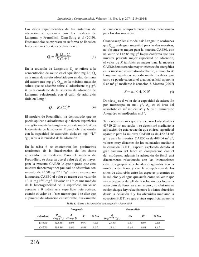 216  Ingeniería y Competitividad, Volumen 16, No. 1, p. 207 - 219 (2014)  Los datos experimentales de las isotermas de  ad...