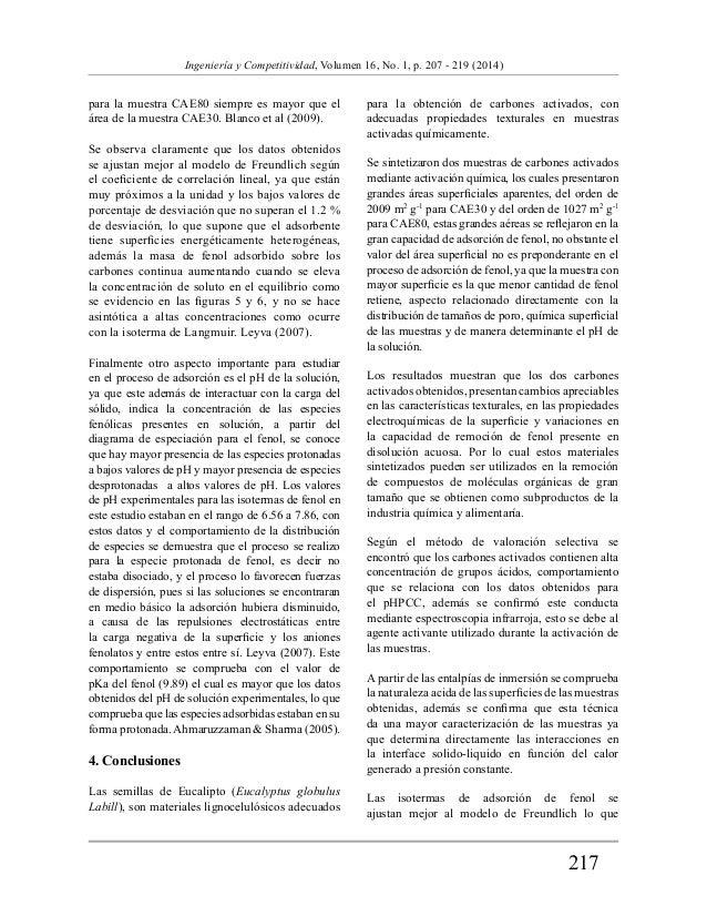 217  Ingeniería y Competitividad, Volumen 16, No. 1, p. 207 - 219 (2014)  para la muestra CAE80 siempre es mayor que el  á...