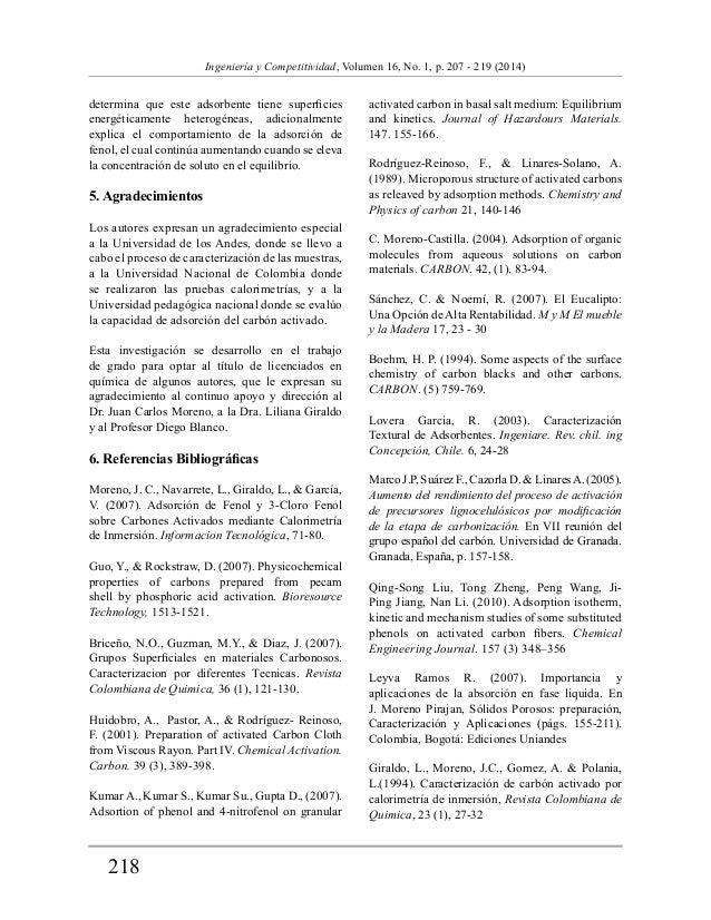218  Ingeniería y Competitividad, Volumen 16, No. 1, p. 207 - 219 (2014)  determina que este adsorbente tiene superficies ...