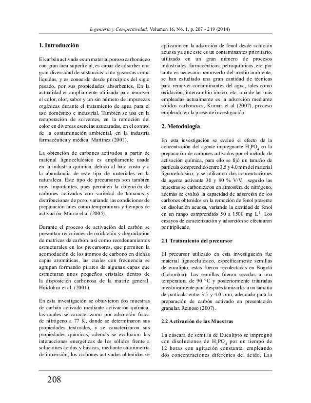 208  Ingeniería y Competitividad, Volumen 16, No. 1, p. 207 - 219 (2014)  1. Introducción  El carbón activado es un materi...