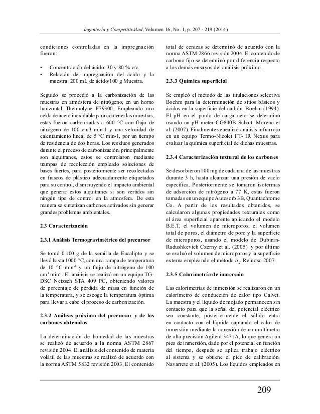 209  Ingeniería y Competitividad, Volumen 16, No. 1, p. 207 - 219 (2014)  condiciones controladas en la impregnación  fuer...