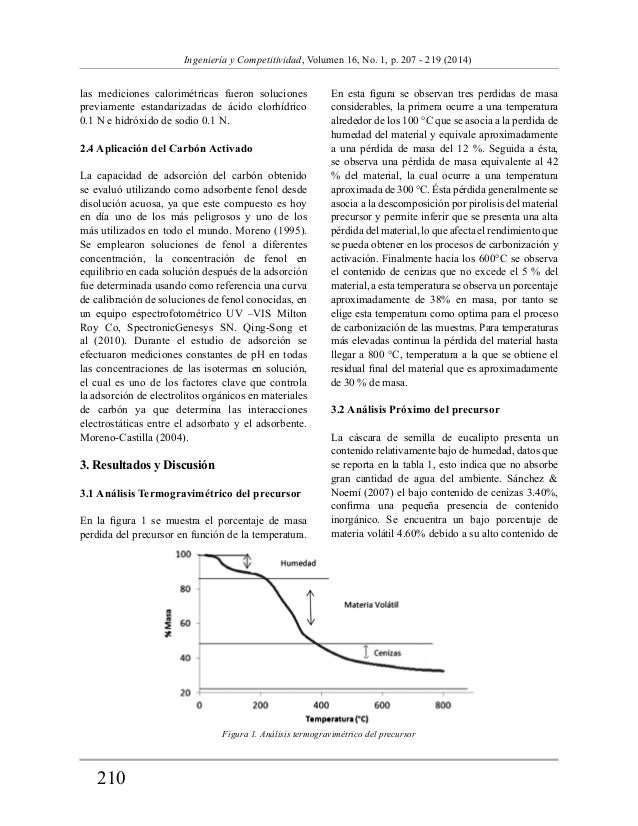210  Ingeniería y Competitividad, Volumen 16, No. 1, p. 207 - 219 (2014)  las mediciones calorimétricas fueron soluciones ...