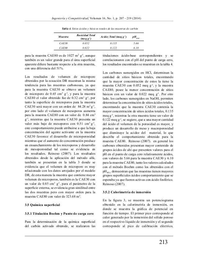 213  Ingeniería y Competitividad, Volumen 16, No. 1, p. 207 - 219 (2014)  Tabla 4. Sitios ácidos y básicos totales de las ...