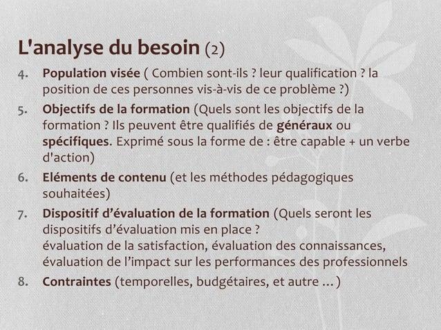 L'analyse du besoin (2) 4. Population visée ( Combien sont-ils ? leur qualification ? la position de ces personnes vis-à-v...