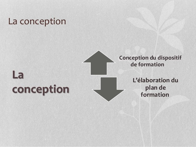 La conception Conception du dispositif de formation L'élaboration du plan de formation La conception