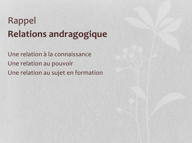 Relations andragogique Une relation à la connaissance Une relation au pouvoir Une relation au sujet en formation Rappel