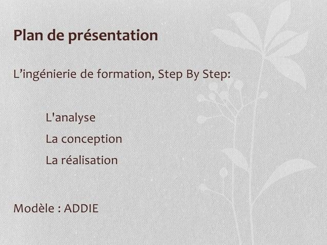 Plan de présentation L'ingénierie de formation, Step By Step: L'analyse La conception La réalisation Modèle : ADDIE