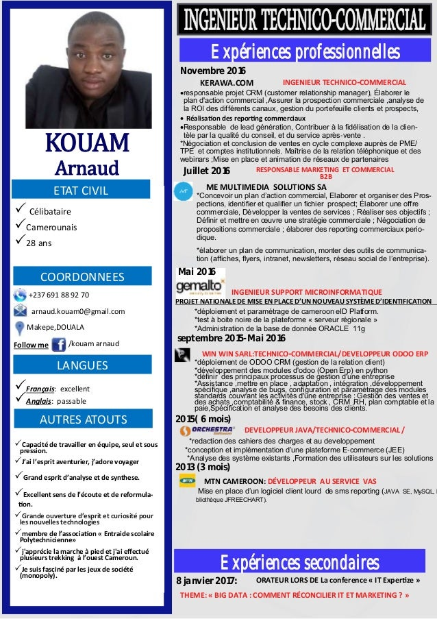 cv kouam ingenieur technico commercial