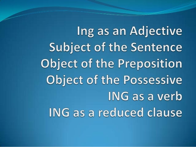 Ing as adjective  I was met by a welcoming party at the airport.  Let's go to my meeting room.  This article is so shoc...