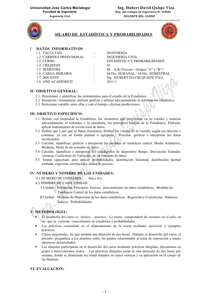 Universidad Jose Carlos Mariategui                              Ing. Hubert David Quispe Viza           Facultad de Ingeni...