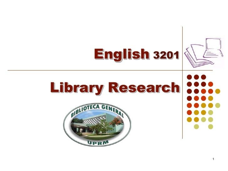English3201 Library Research<br />1<br />