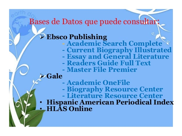 ebsco essay and general literature index Alternative name(s) & keywords: ebsco 1985 -  history, culture, and  contemporary issues through relevant essays, biographies, speeches, and court  cases.