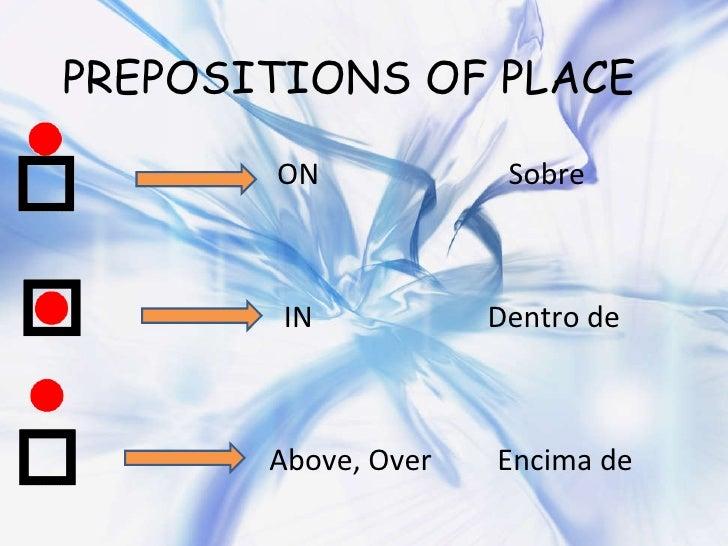 PREPOSITIONS OF PLACE ON  Sobre IN  Dentro de Above, Over  Encima de