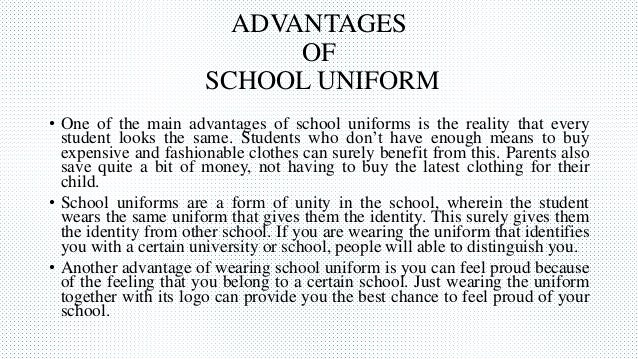 school uniform pros essay Should school uniforms be abolished this article looks at school uniform pros and cons and addresses both sides of the school uniform debate.