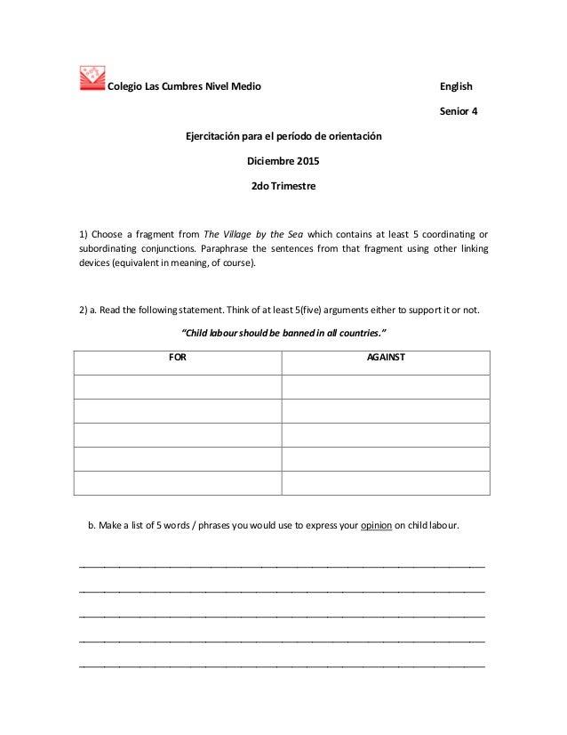 Colegio Las Cumbres Nivel Medio English Senior 4 Ejercitación para el período de orientación Diciembre 2015 2do Trimestre ...