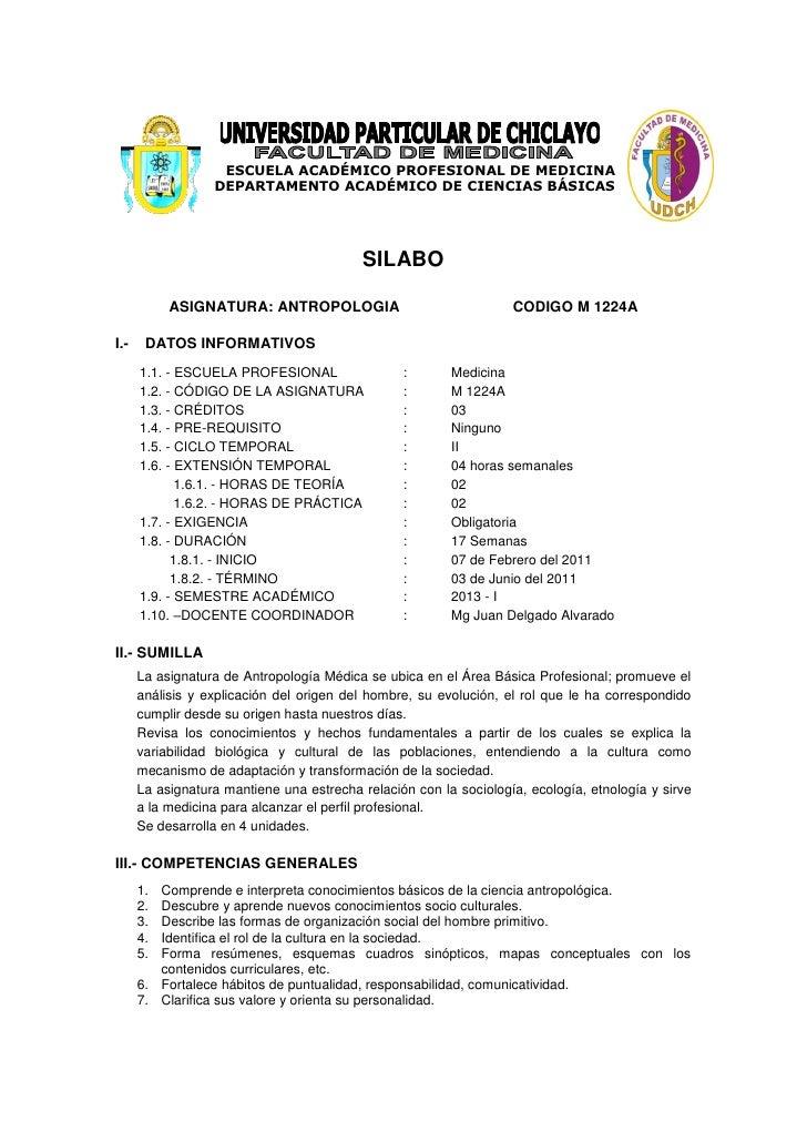 ESCUELA ACADÉMICO PROFESIONAL DE MEDICINA                  DEPARTAMENTO ACADÉMICO DE CIENCIAS BÁSICAS                     ...