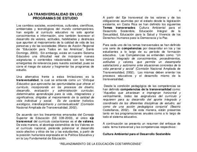 4         LA TRANSVERSALIDAD EN LOS           PROGRAMAS DE ESTUDIO                                A partir del Eje transve...