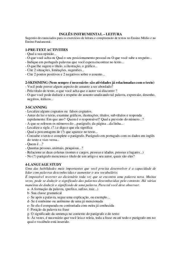 INGLÊS INSTRUMENTAL – LEITURASugestão de enunciados para os exercícios de leitura e compreensão de textos no Ensino Médio ...