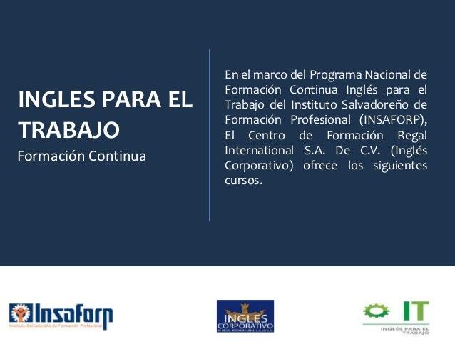 INGLES PARA EL TRABAJO Formación Continua En el marco del Programa Nacional de Formación Continua Inglés para el Trabajo d...