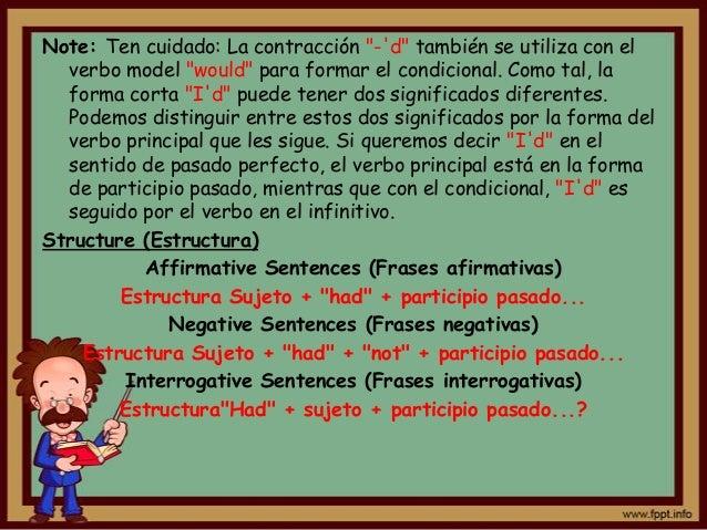 """Note: Ten cuidado: La contracción """"-d"""" también se utiliza con el  verbo model """"would"""" para formar el condicional. Como tal..."""
