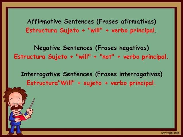"Affirmative Sentences (Frases afirmativas)    Estructura Sujeto + ""will"" + verbo principal.      Negative Sentences (Frase..."