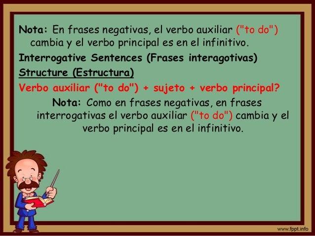 """Nota: En frases negativas, el verbo auxiliar (""""to do"""")  cambia y el verbo principal es en el infinitivo.Interrogative Sent..."""