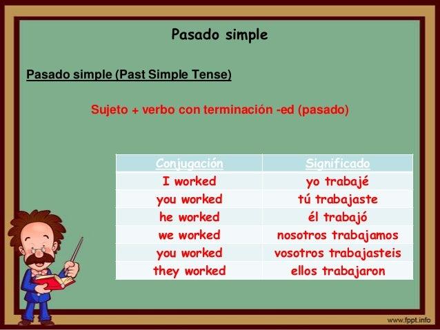 Pasado simplePasado simple (Past Simple Tense)          Sujeto + verbo con terminación -ed (pasado)                    Con...