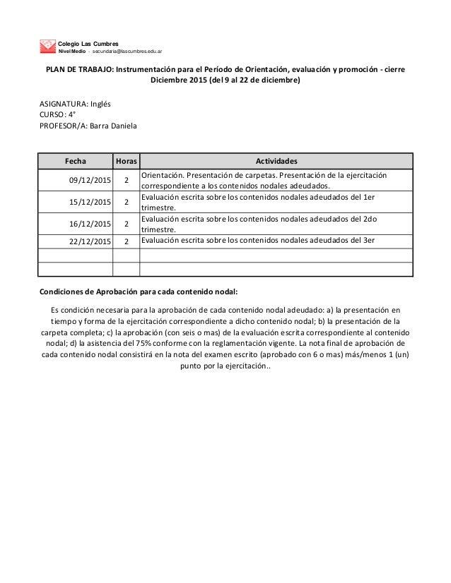 Colegio Las Cumbres Nivel Medio - secundaria@lascumbres.edu.ar ASIGNATURA: Inglés CURSO: 4° PROFESOR/A: Barra Daniela Fech...