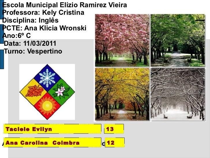 Escola Municipal Elízio Ramirez Vieira Professora: Kely Cristina Disciplina: Inglês PCTE: Ana Klicia Wronski Ano:6º C  Dat...