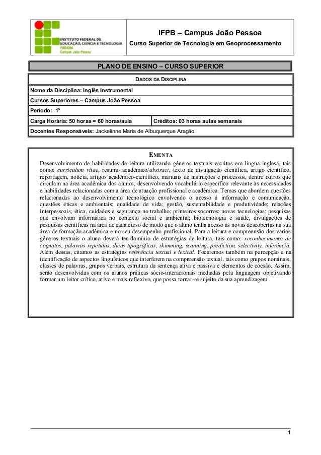 IFPB – Campus João Pessoa Curso Superior de Tecnologia em Geoprocessamento PLANO DE ENSINO – CURSO SUPERIOR DADOS DA DISCI...