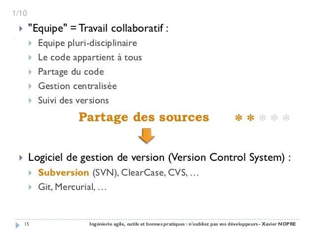 """1/10      """"Equipe"""" = Travail collaboratif :          Equipe pluri-disciplinaire          Le code appartient à tous     ..."""