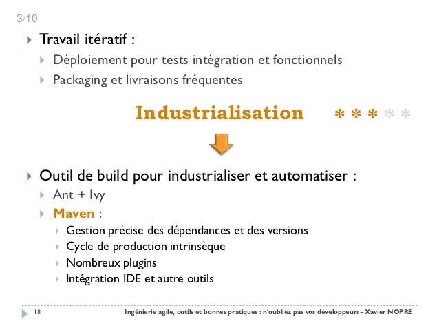3/10      Travail itératif :          Déploiement pour tests intégration et fonctionnels          Packaging et livraiso...