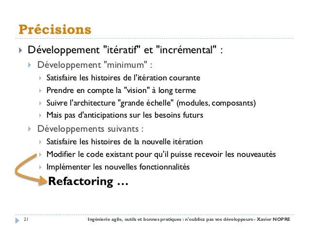 """Précisions    Développement """"itératif"""" et """"incrémental"""" :        Développement """"minimum"""" :            Satisfaire les hi..."""
