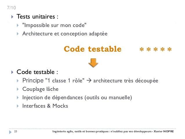 """7/10      Tests unitaires :          """"Impossible sur mon code""""          Architecture et conception adaptée             ..."""