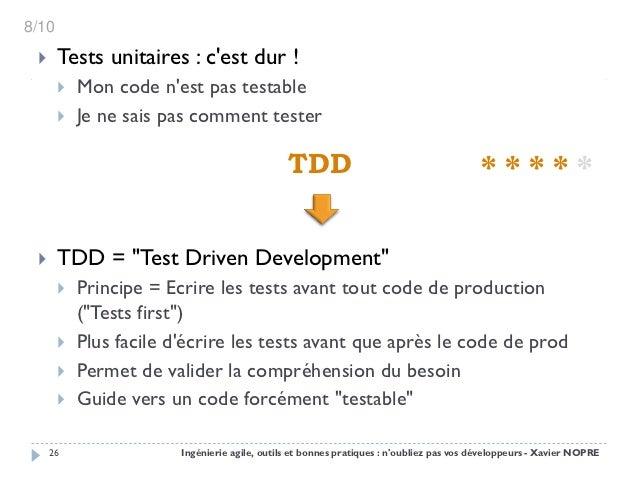 8/10      Tests unitaires : cest dur !          Mon code nest pas testable          Je ne sais pas comment tester      ...