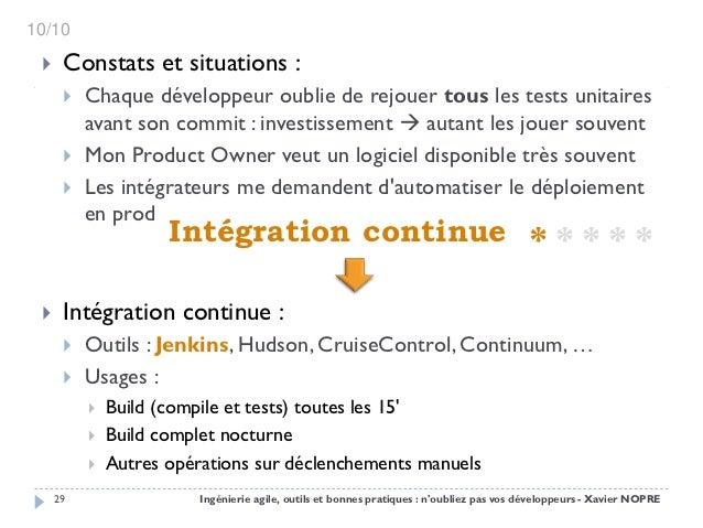 10/10     Constats et situations :         Chaque développeur oublie de rejouer tous les tests unitaires          avant ...