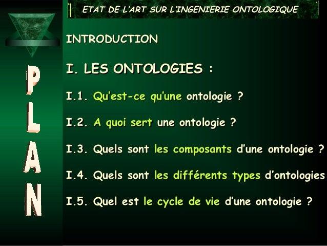 ETAT DE L'ART SUR L'INGENIERIE ONTOLOGIQUEINTRODUCTIONI. LES ONTOLOGIES :I.1. Qu'est-ce qu'une ontologie ?I.2. A quoi sert...