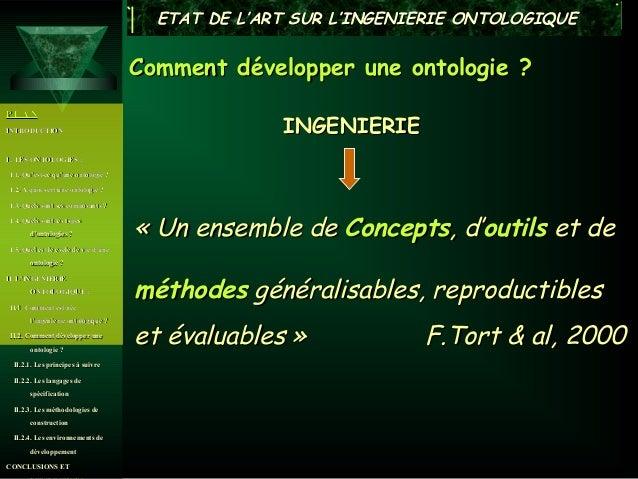 ETAT DE L'ART SUR L'INGENIERIE ONTOLOGIQUE                                      Comment développer une ontologie ?PLANINTR...