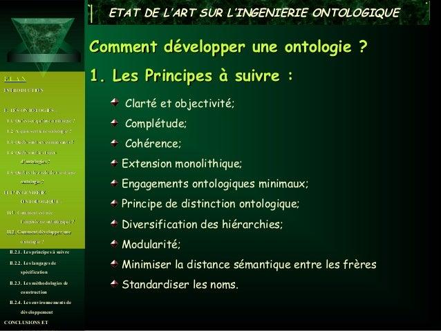 ETAT DE L'ART SUR L'INGENIERIE ONTOLOGIQUE                                      Comment développer une ontologie ?PLAN    ...