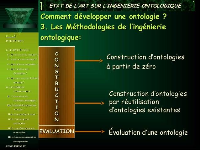 ETAT DE L'ART SUR L'INGENIERIE ONTOLOGIQUE                                      Comment développer une ontologie ?        ...