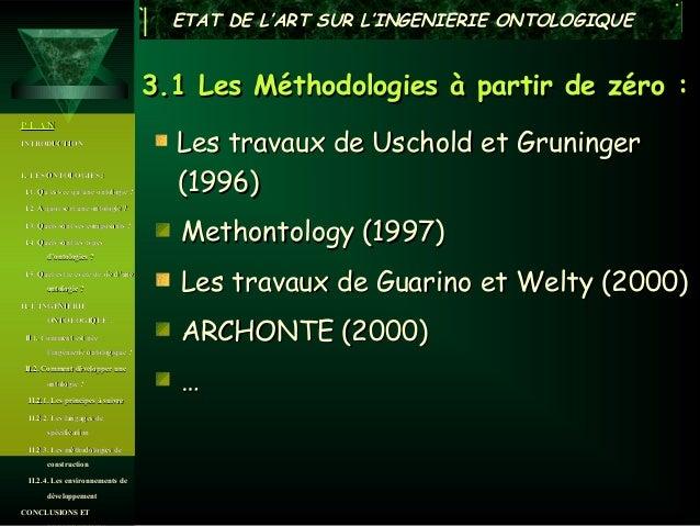 ETAT DE L'ART SUR L'INGENIERIE ONTOLOGIQUE                                      3.1 Les Méthodologies à partir de zéro :PL...