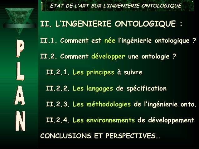 ETAT DE L'ART SUR L'INGENIERIE ONTOLOGIQUEII. L'INGENIERIE ONTOLOGIQUE :II.1. Comment est née l'ingénierie ontologique ?II...