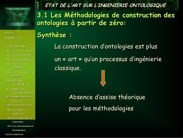 ETAT DE L'ART SUR L'INGENIERIE ONTOLOGIQUE                                      3.1 Les Méthodologies de construction des ...