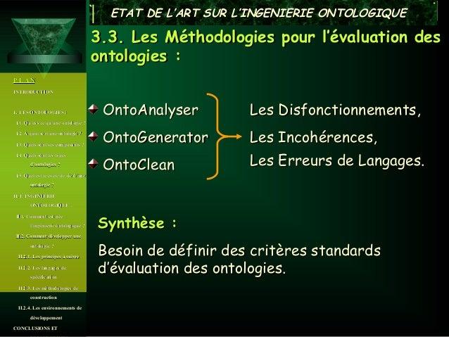 ETAT DE L'ART SUR L'INGENIERIE ONTOLOGIQUE                                      3.3. Les Méthodologies pour l'évaluation d...